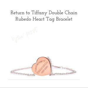 Tiffany & Co Double Chain Rubedo Heart Bracelet
